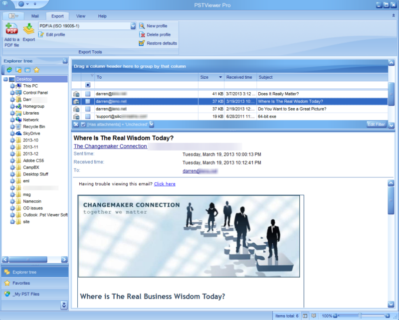 Image shows main GUI for Pst Reader Pro Outlook email viewer.