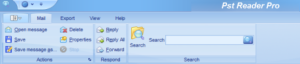 Image shows the main header of PstReader Pro email viewer for windows.