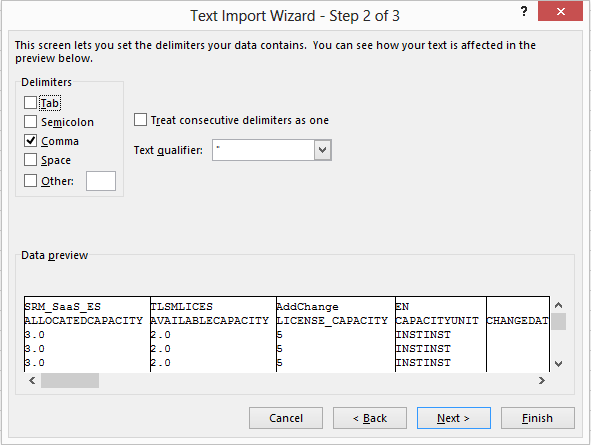 Excel Import Wizard Step 2